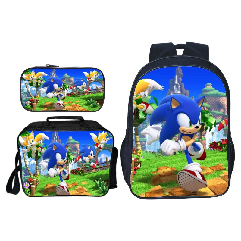 Sonic Backpack High Quality Children Boys Girls School Backpacks Beautiful School Bags 3Pcs Sets Fashion Bags
