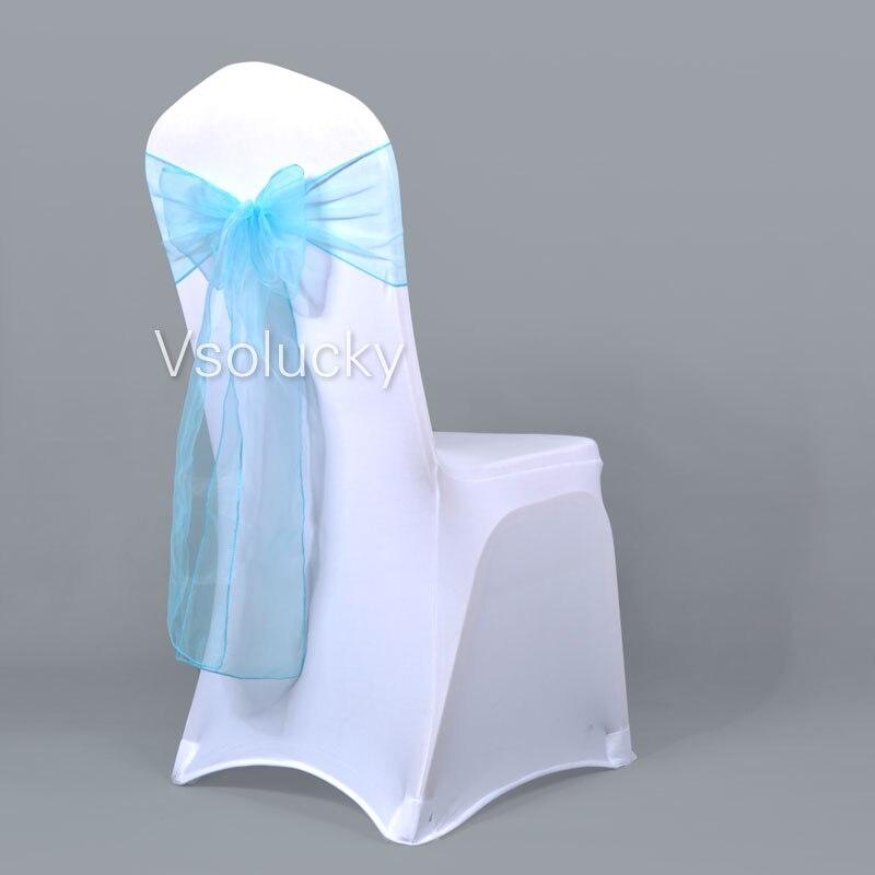 25 шт./лот, прозрачный чехол для стула из органзы с поясом и бантом, свадебные, вечерние, рождественские, на день рождения, для душа - Цвет: Light blue