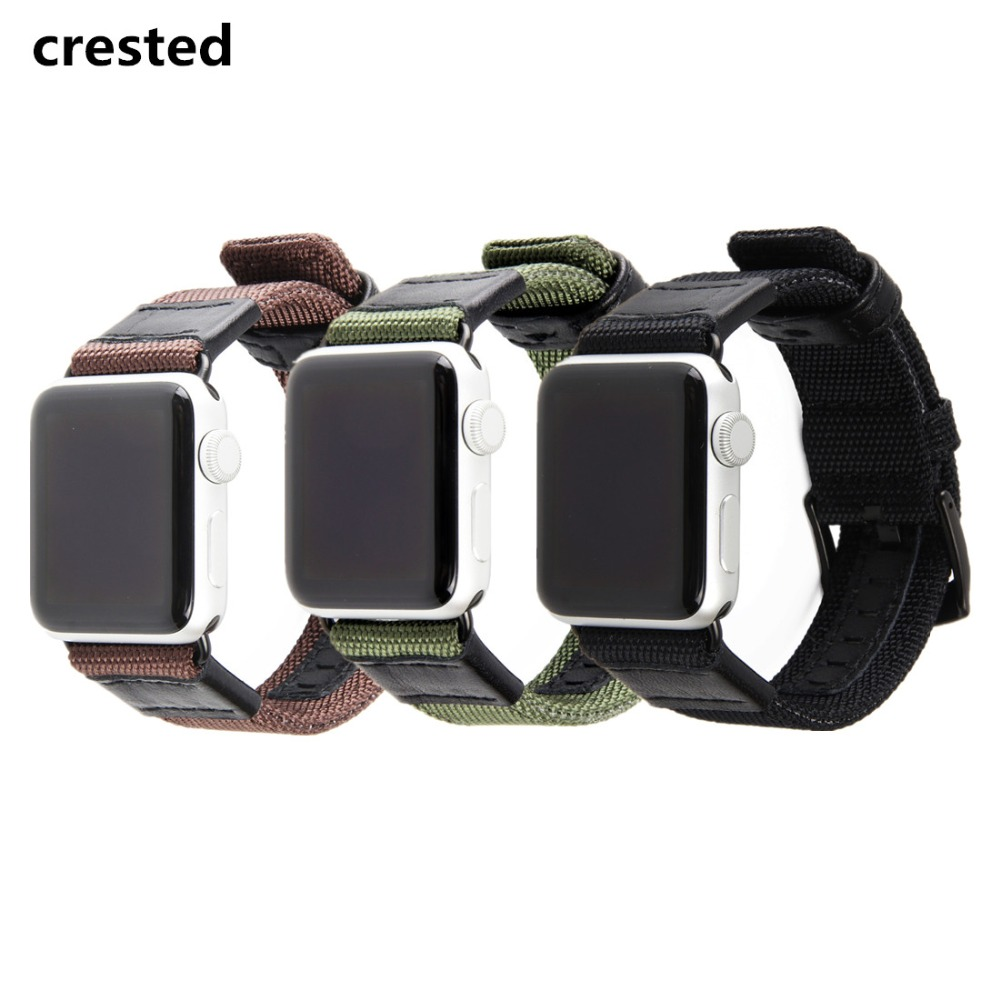CRESTED Leather Strap For Apple Watch band 42mm/38mm Wove Nylon iwatch 3/2/1 wrist band bracelet watchband replacement band belt survival nylon bracelet brown
