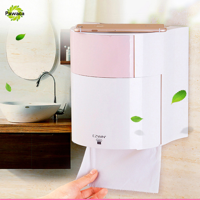 Creative Roll Tray Toilet Paper Box Free Punching Waterproof Roll Napkin Tube Thick ABS Plastic Sanitary Pad Storage Box 2 LAYER