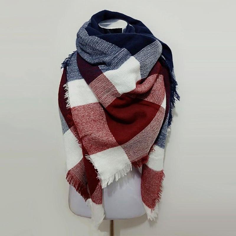 Luxury Brand Kallove halsduk za vinter stor fyrkant Scarf Plaid Women - Kläder tillbehör - Foto 4