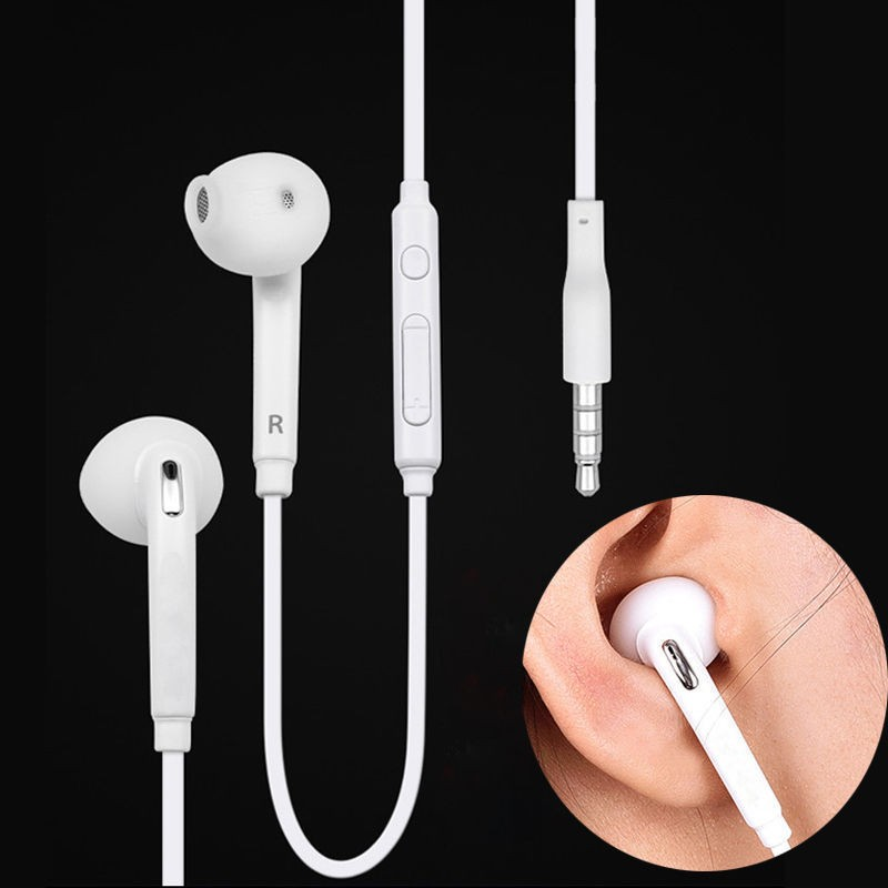 Free shipping Universal Wire Handsfree Earbuds S6 Convenience Call Center Headset with White and Black Colors