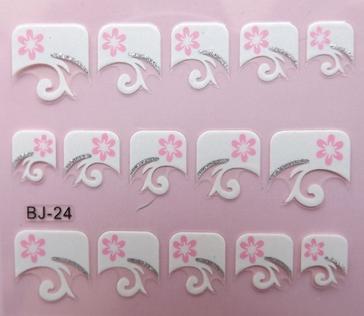20pcs/bag non-toxic french nail stickers/3D beautiful french nail stickers, free shipping