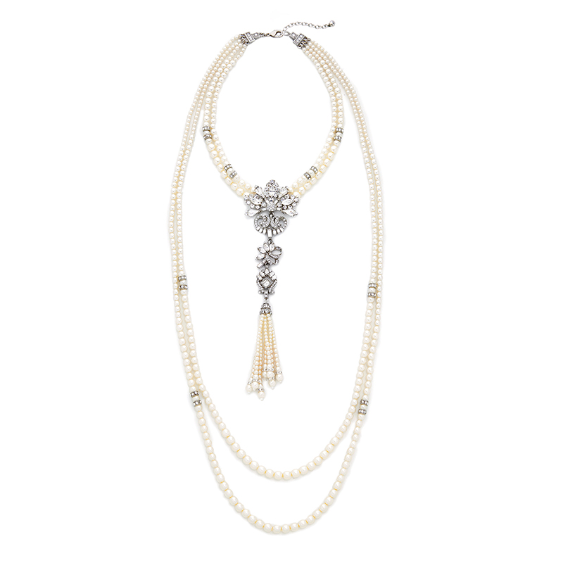 Layered Crystal Floral Fringe Pendant Simulated Pearl Necklace Perfume Women Long Statement Necklace Luxury Jewelry alloy fringe statement necklace