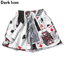 Dark Icon Porker Full Printed Men's Shorts Straight Style Beach Shorts Elastic Waist Drawstring shorts for Men