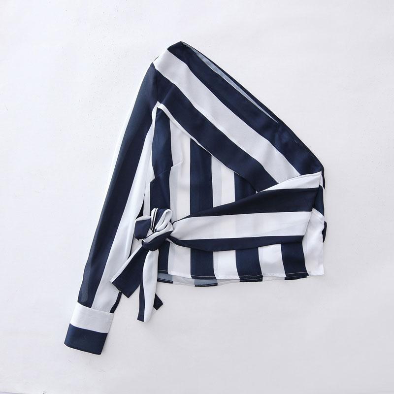 Lionstill Women Sexy Long Sleeve Blouse Spring Summer Fashion Strip Patchwork Off Shoulder Bandage Shirt New Design Femme Shirt