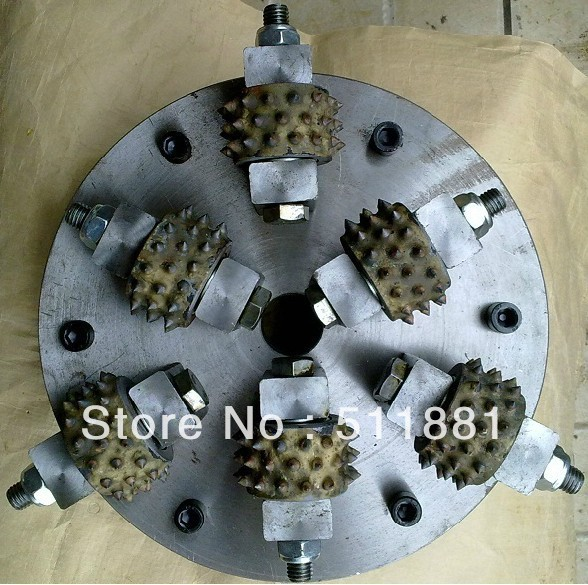 10'' NCCTEC bush hammer plate | 250mm alloy wheel Disc for bush hammered granite marble | 6 hammer bits