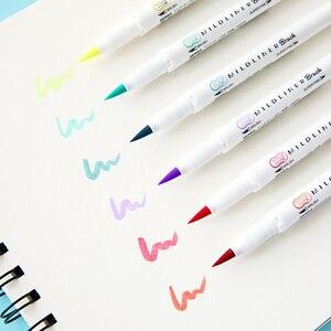 Image 3 - 5 adet Zebra Yeni WFT8 Mildliner Fırça Çift kafa Vurgulayıcı Seti işaretleyici kalem Günlüğü Kırtasiye Malzemeleri Kawaii