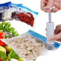 15 unids/set Sellador Al Vacío Manual Bomba de Mano Bolsa de Envasado de Alimentos Bolsas De Compresión de Almacenamiento de Alimentos Cocina Viajes Organizador de Plástico