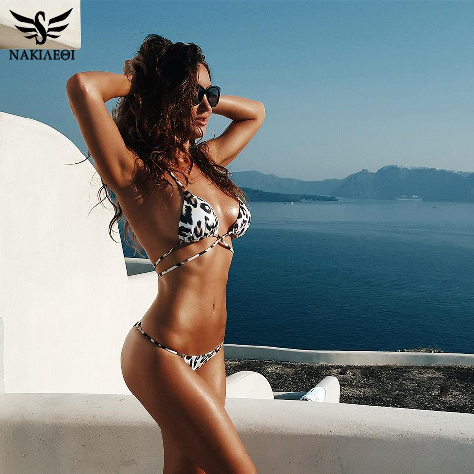 NAKIAEOI 2019 Sexy Newest  Bikini Women Swimsuit Push Up Swimwear Bandage Halter Top Bikini Set Beach Bathing Suit Swim Wear S~L|Bikini Set| |  - AliExpress