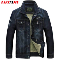 LONMMY M 3XL Denim Jacket Men Coat Air Force 1 Plush Liner Velvet Thickening Warm Jeans