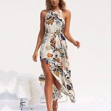 41fff3fcb Señoras impresión Floral Boho Bohemia playa Vestido de verano Vestido de  las mujeres Vestido Halter Sexy sin mangas Maxi Vestido.