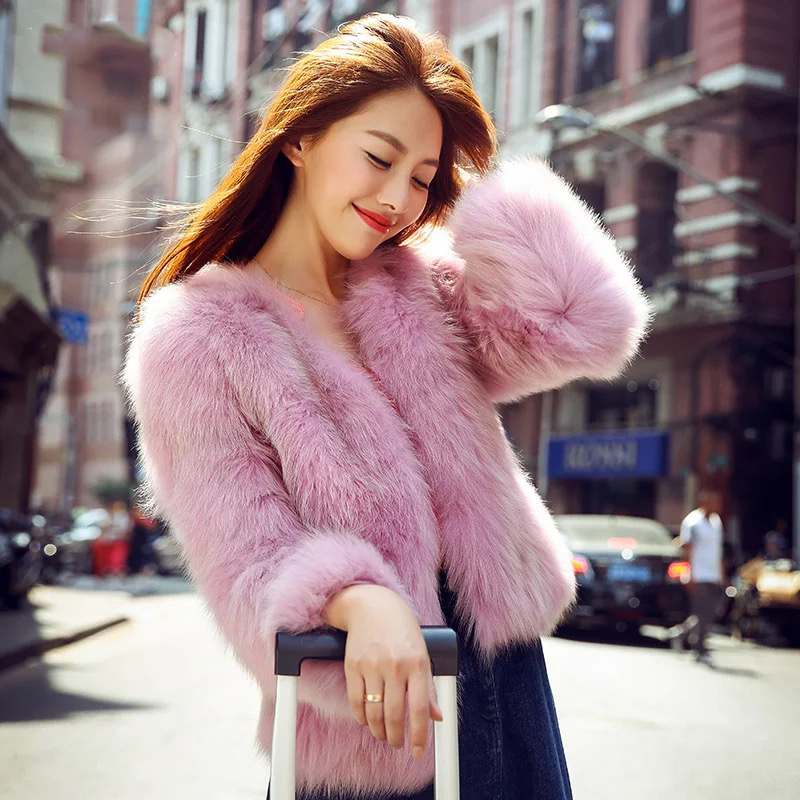 SALE!!Real fur coats women natural fox fur jacket pink coat genuine fur  outwear - Compare Prices On Real Fur Jacket Short- Online Shopping/Buy Low