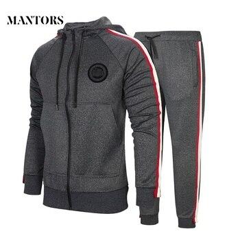 Tracksuit Men's Solid Zipper Jackets 2PC Hoodies + Pants Sets Male