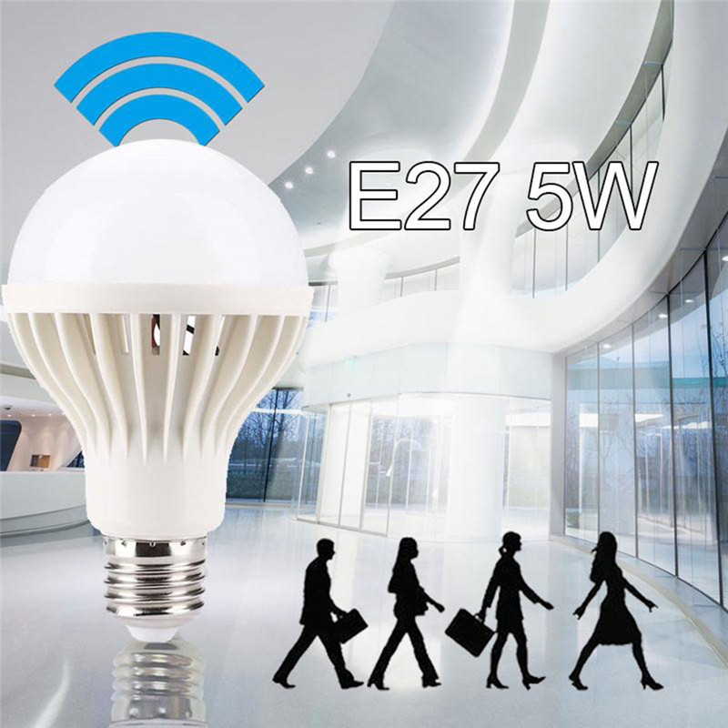 Smart Sound/ PIR Motion Sensor LED Lamp Light 5W E27 220V Induction Bulb Stair Hallway Night Light White Color