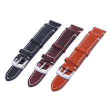 18 20 22mm Men Stainless Steel Buckle Watch Strap Genuine Leather Band Length 12 5 cm