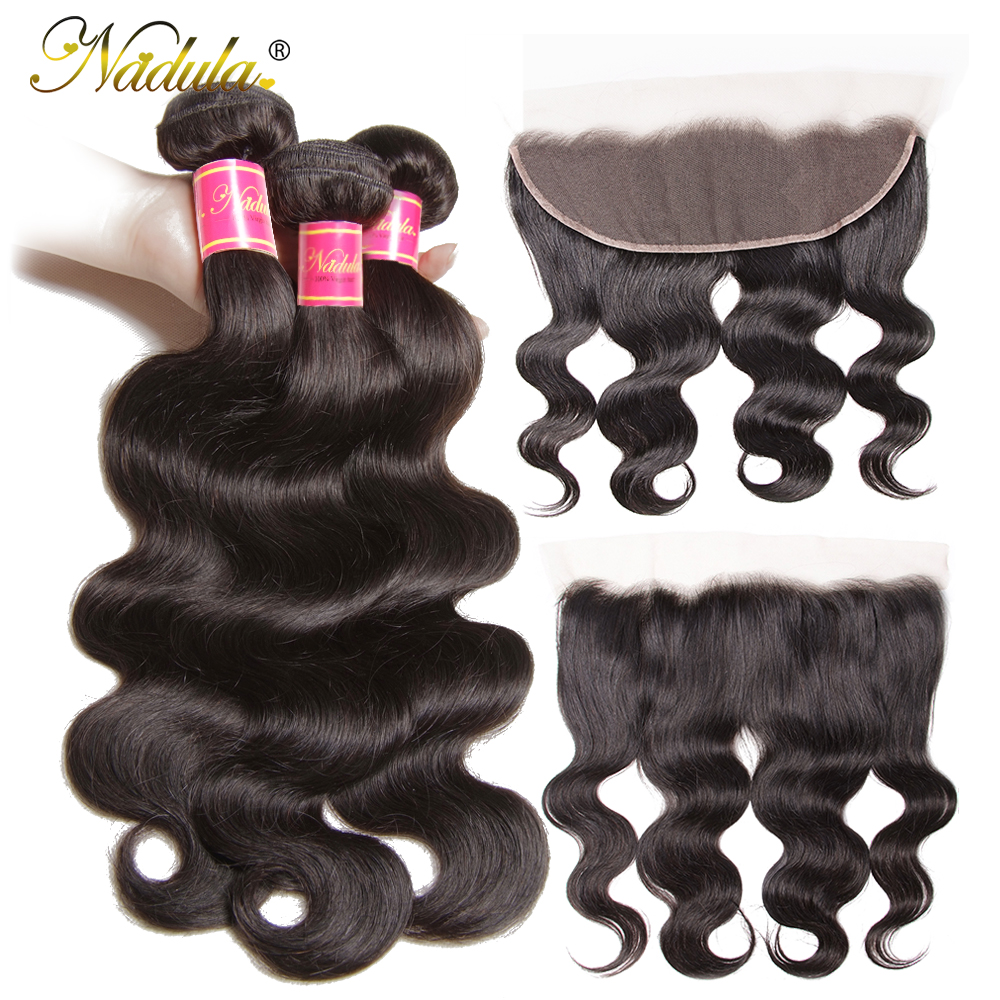 Nadula Hair 13 4 Ear to Ear Lace Frontal With Bundles Brazilian Body Wave With Closure