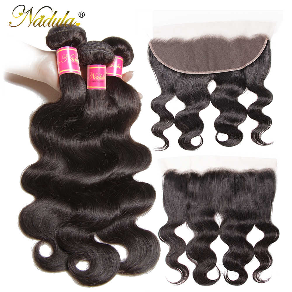 Nadula Hair 13*4 Ear to Ear Lace Frontal With Bundles Brazilian Body Wave With Closure 8-30inch Remy Human Hair Weaves