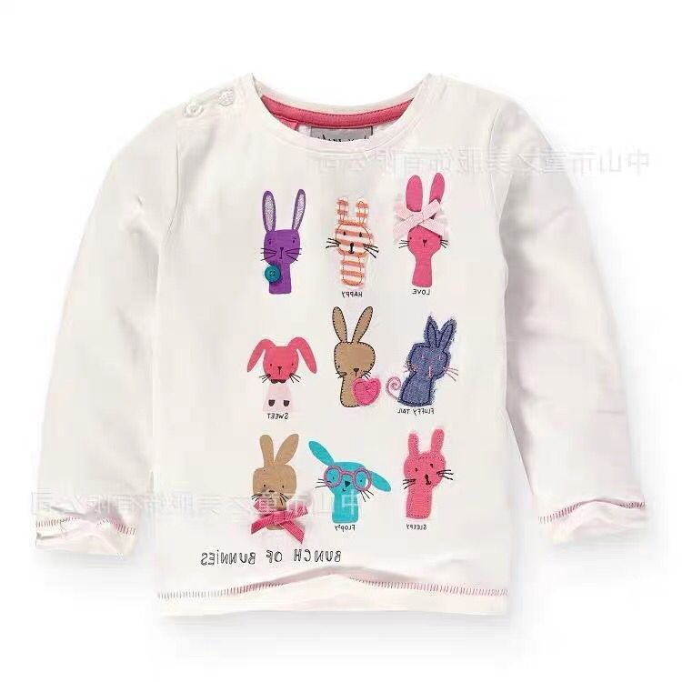 Girls T-Shirts Kids Clothes Long-Sleeve Costume-Top Baby Child Tees Rabbit-Print
