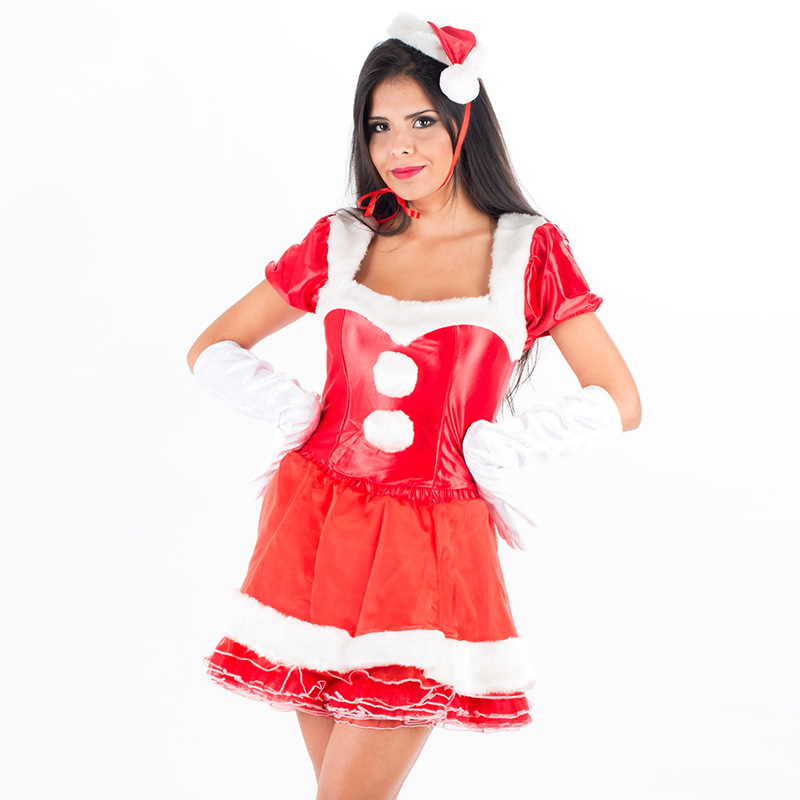 Sexy Christmas Costumes Women Christmas Party Santa Claus Fancy Dress Red Short Sleeve Mini Dress with Gloves Hat Xmas Gift