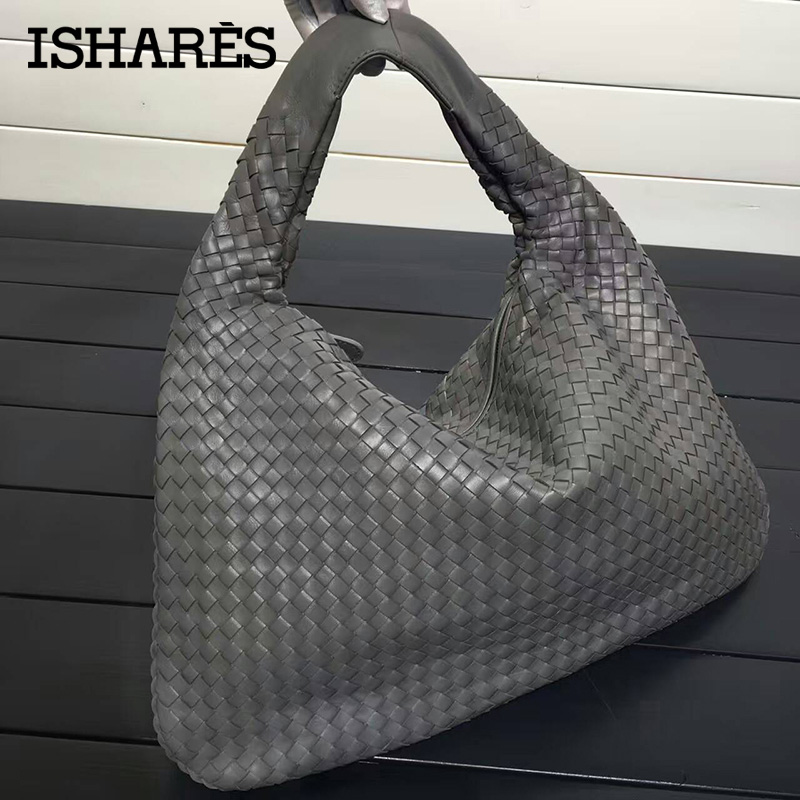 ISHARES Handbags Sheepskin Woven fashion bags Brand Genuine Leather Handmade Zipper Shoulder Bags Large Capacity Totes IS115653 new 100% handmade woven leather handbags tote women shoulder bags with detachable zipper pouch