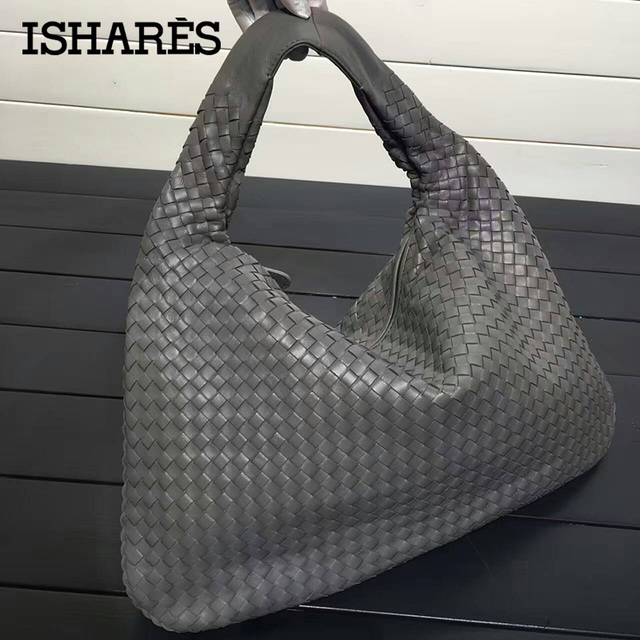 ISHARES Handbags Sheepskin Woven fashion bags Brand Genuine Leather Handmade Zipper Shoulder Bags Large Capacity Totes IS115653