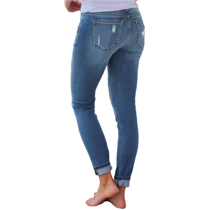 High Waist Jeans for Women Fashion Slim Hole Leopard Patchwork Long Jeans Sexy Ripped Denim jeans pants push up jeans boyfriend in Jeans from Women 39 s Clothing