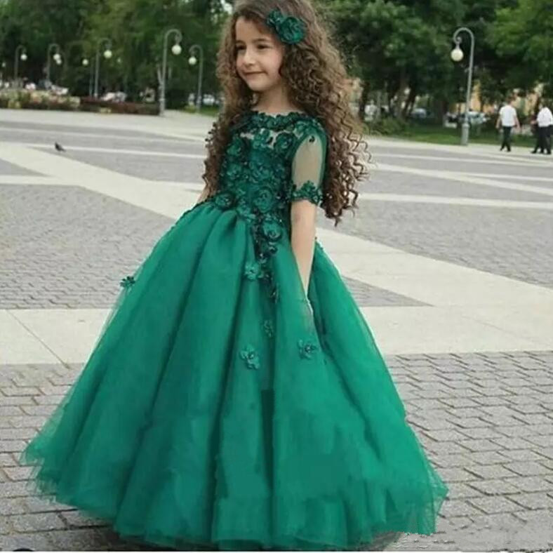 New Green Sheer Jewel Neck 3D Floral Flowers Girls Dresses Crew Neck Short Sleeve Kids Pageant Gowns size 2-16Y crew neck button embellished tee
