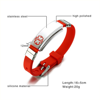 Engraved Medical Alert ID Bracelet Bangle Colour Silicone Strap 1