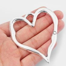 Pendants Charms Necklace Jewelry-Making Open-Heart Trendy for DIY Findings 79x67mm 2pcs