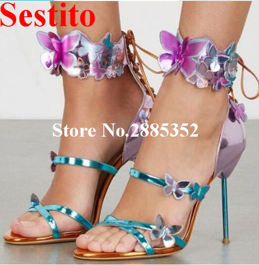 Sestito 3D Butterfly Design Sandals Wedding Party Dress Shoes Open Toe High Heels Strappy Shoes Women Luxury Lace Up Sandals luxury women shoes high heel sandals lace up heels open toe crystal embellishment laides party nude sandals fashion footwear