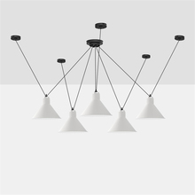 Modern Art LED Chandelier Ceiling Lamps Living Room Line Pendant Lights Customized Coffee Adjusted Hanging Luminaire
