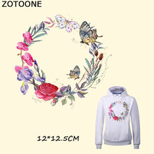 ZOTOONE Flower Butterfly Patches Iron on Clothes Badges DIY Accessory New Design Heat Transfer Clothing Deco Washable Patch E