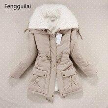 Neue Winter Mantel Frauen Dünne Plus Größe Outwear Medium Lange Wadded Starke Mit Kapuze Baumwolle Wadded Warm Baumwolle Parkas