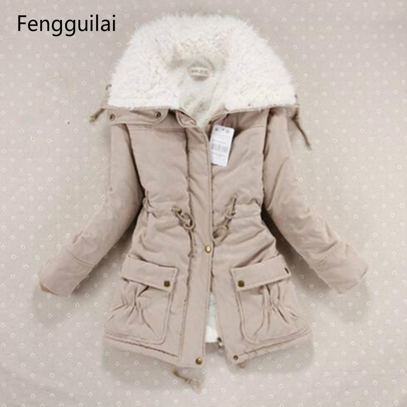 New 2018 Winter Coat Women Slim Plus Size Outwear Medium -Long Wadded Jacket Thick Hooded Cotton Wadded Warm Cotton   Parkas