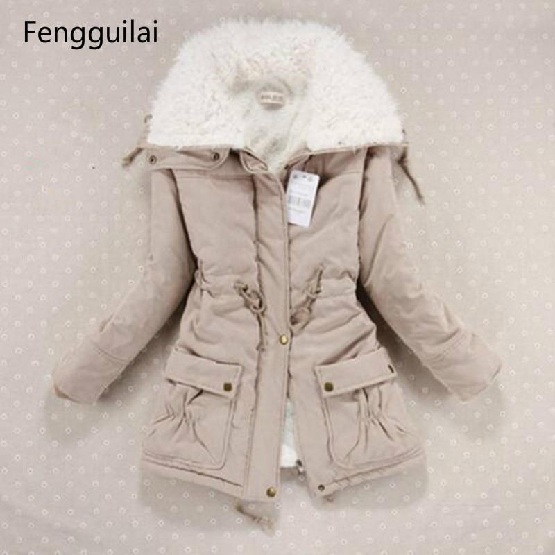New 2018 Winter Coat Women Slim Plus Size Outwear Medium -Long Wadded Jacket Thick Hooded Cotton Wadded Warm Cotton Parkas