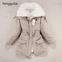 New Winter Coat Women Slim Plus Size Outwear Medium -Long Wadded Jacket Thick Hooded Cotton Wadded W