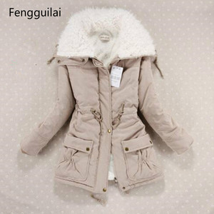Image 1 - New  Winter Coat Women Slim Plus Size Outwear Medium  Long Wadded Jacket Thick Hooded Cotton Wadded Warm Cotton Parkas