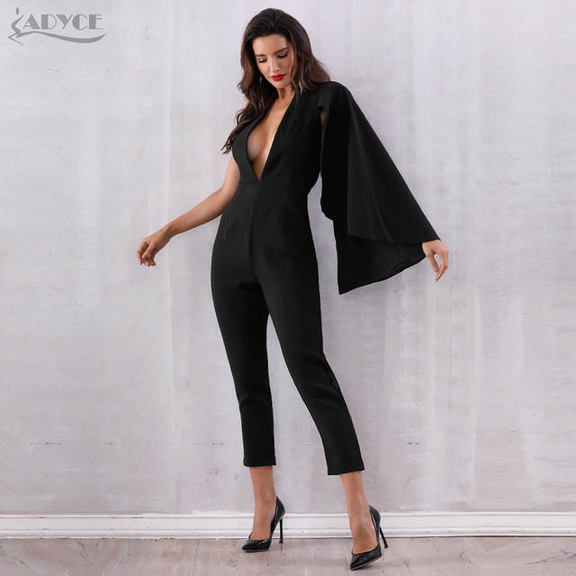 4e87bb5aa24e Adyce Celebrity Runway Jumpsuit Women 2019 Black Deep V-Neck Halter Half  Batwing Sleeve Rompers