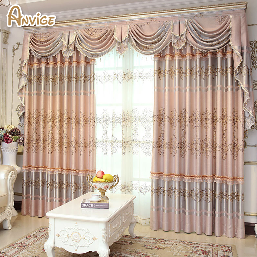 valance curtains for bedroom anvige european luxury curtain with lace blackout curtains 17682