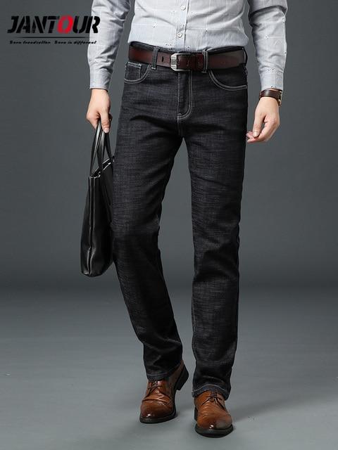 Jantour Brand Jeans Men High Stretch Black Blue Slim Straight Denim Business Pants mens, Cotton And Spandex Plus Size 40 42 44
