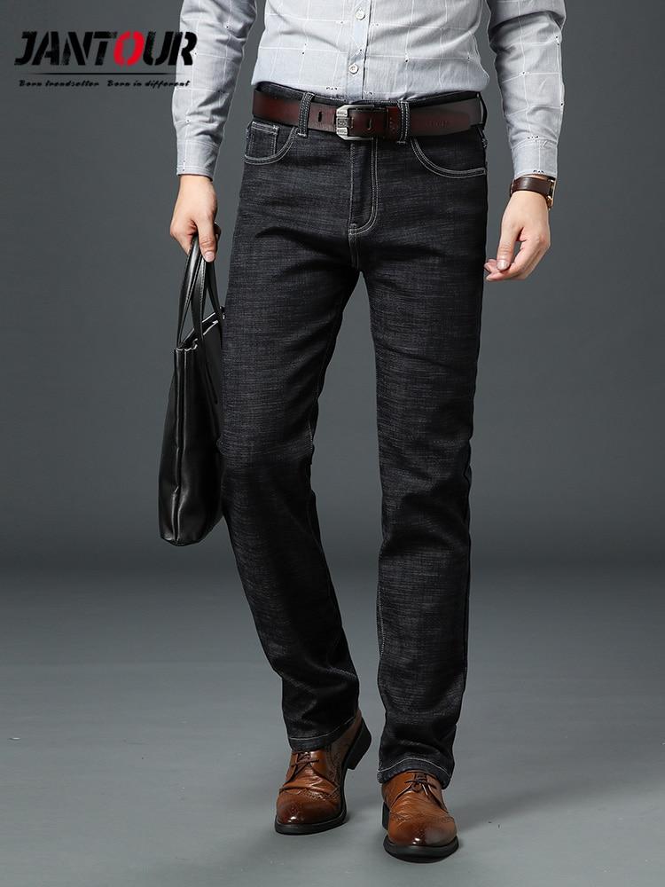 a00932ca Jantour marca Jeans hombres alta estiramiento Negro Azul Delgado recto  Denim Pantalones de negocios hombres, algodón y LICRA talla grande 40 42 44