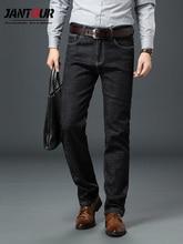 Jantour marque jean homme haute Stretch noir bleu mince droit Denim Business pantalon homme, coton et Spandex grande taille 40 42 44