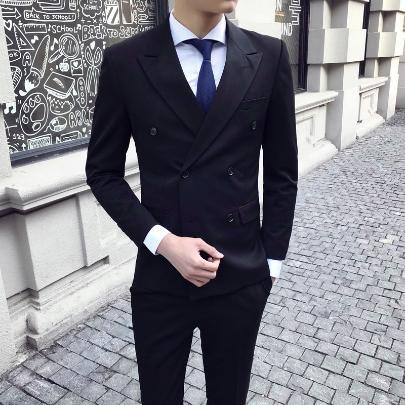Spring New Nightclub Classic Gentleman Double-breasted Solid Color Design Korean Men's Slim Suit Men Fashions