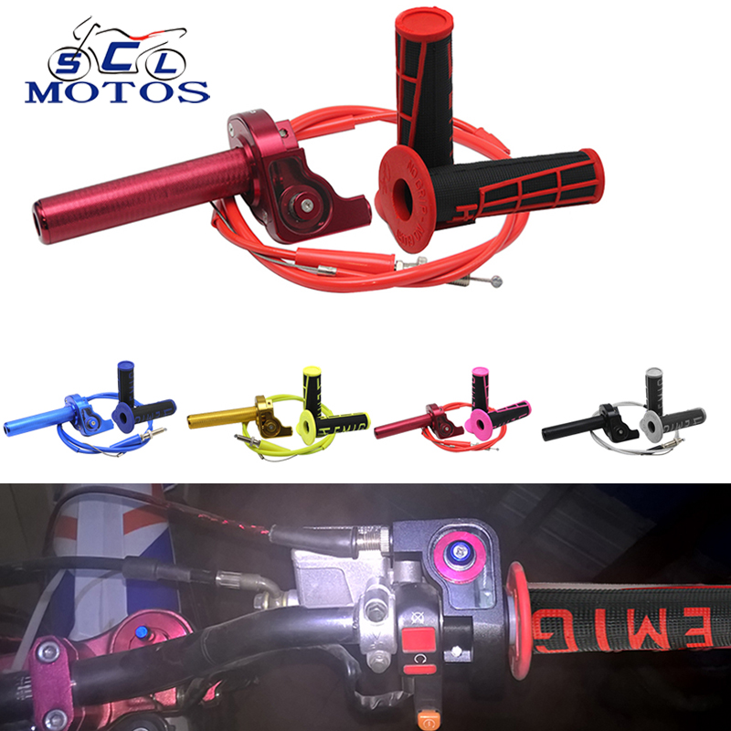 Sclmotos- CNC Aluminum Twist Throttle Grips With Cable With Handle Grips For Suzuki RM 80 85 125 250 For KTM DUKE Pit Dirt Bike