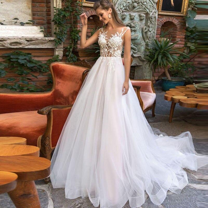 Romantic Pale Pink Wedding Gowns 2018 Vestido De Noiva Sheer Jewel