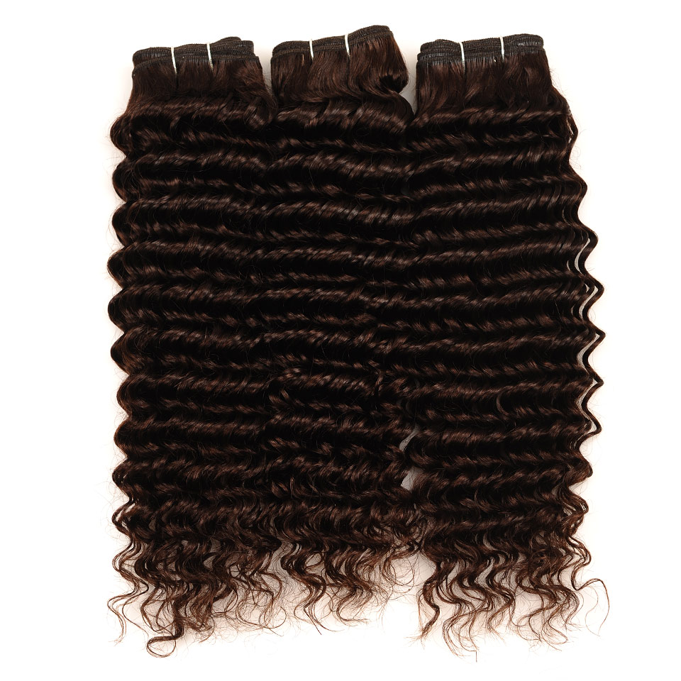 Pinshair Deep Wave Indian Hair 3 Bundles With Closure Brown Color 4 Non Remy 100 Thick Human Hair Weft Hair Bundles With Closure (18)
