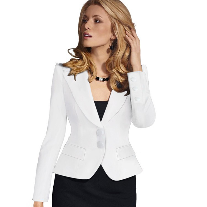 Work Autumn Winter Slim Blazers Women 2 Buttons Notched Blazers Black Plus Size Office Lady Work Suit Jacket Elegant Sexy