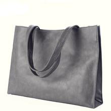 Occident Style LadiesTote Bag 2016 Fashion New Simple Hand Bag Concise Plain Large Bag Retro Nubuck Leather Shoulder Bag