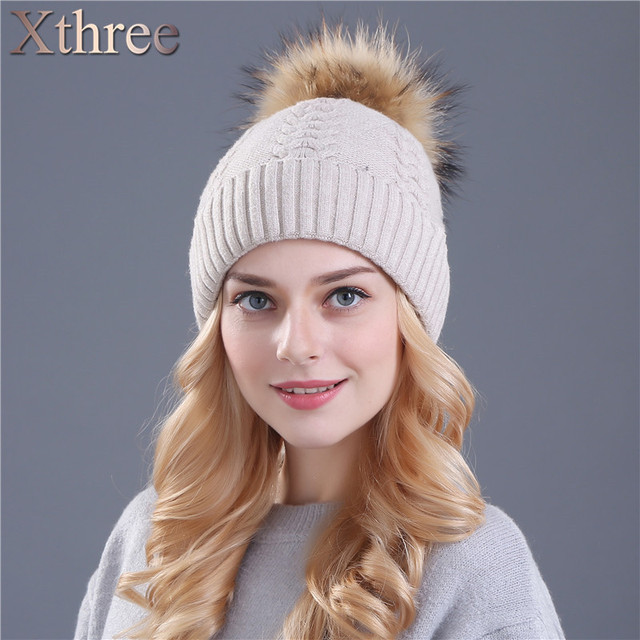 Xthree winter hat for women double layer knitting beanies natural fur pom poms  thermal Skullies girls hat